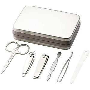 Manikúra v kovové krabičce, stříbrná