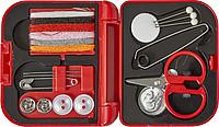 SARDINO Malé cestovní šitíčko v plastové krabičce, červené ručníky s potiskem