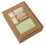 NATURALO Masážní set v dárkové krabičce s transparentním víkem ručníky s potiskem