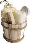 Sada do koupelny, mycí pomůcky v dřevěném kyblíku