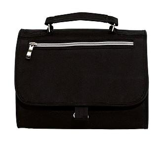 Kosmetická taška, rozkládací s háčkem na zavěšení, černá