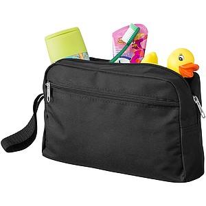 Toaletní taška s popruhem a přední kapsou na zip, černá