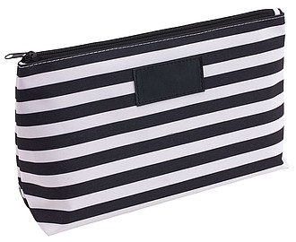 OZZY Pruhovaná kosmetická taška, bílo černá