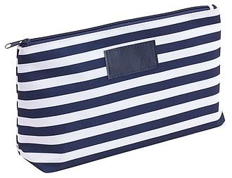 OZZY Pruhovaná kosmetická taška, bílo modrá
