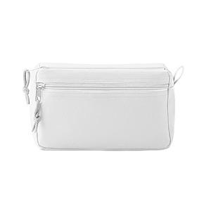 Kosmetická taška s dvojitým zipem, bílá