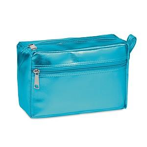 Lesklá kosmetická taštička s dvojitým zipem, modrá