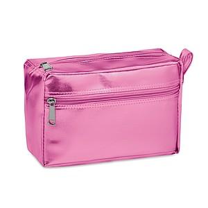 Lesklá kosmetická taštička s dvojitým zipem, růžová