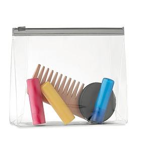 PVC transparentní kosmetická taštička se zipem, šedá