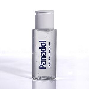 Sanitární gel s výtažkem z heřmánku a eukalyptovým parfémem, 70% alkoholu, 50ml, bez etikety, bílá