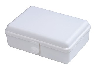 Bílé plastové pouzdro se sadou první pomoci