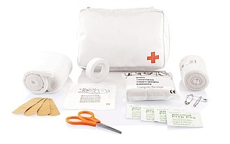 Lékárnička první pomoci, 24 dílů, bílé pouzdro na zip