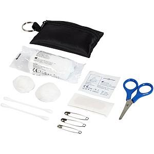 16dílný sáček první pomoci s klíčenkou, černá
