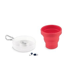 Silikonový skládací hrnek s nádobkou na léky a karabinkou, červený