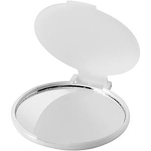 Kulaté kapesní zrcátko s flip víčkem, transparentní bílá