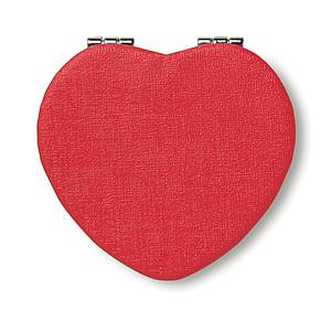 Zrcátko ve tvaru srdce, červená