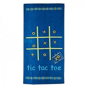 Ručník s hrou piškvorky, 100% bavlna, modrá