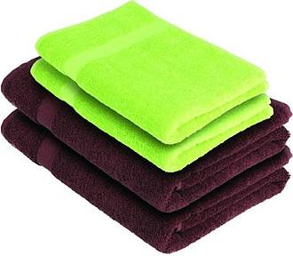 VS DEORIA SET 4 Sada 2 hnědých osušek a 2 zelených ručníků