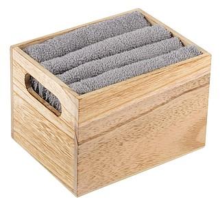 Sada 4 ručníků ve dřevěném boxu, šedá