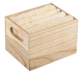 Sada 4 ručníků ve dřevěném boxu, béžová ručníky s potiskem