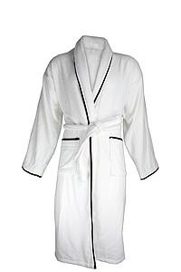 Sametový župan bílý s černým lemováním 450 gr/m2, bílá, L/XL