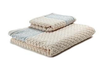 WINTER Set luxusních lososových ručníků se zdobenou bordurou 60x110 a 30x50 cm, 600 g, sv. modrá