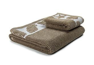 SUMMER Set luxusních ručníků se zdobenou bordurou 60x110 a 30x50 cm, 600 g, hnědá