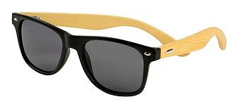 Černé sluneční brýle s bambusovýma nožičkama, středně hnědá.