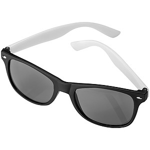 Plastové sluneční brýle, černé obroučky, bílé nožičky