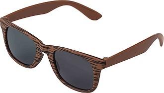 Sluneční brýle s UV400, obroučky v designu dřeva, hnědé