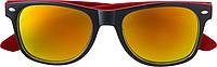 KRALO Plastové sluneční brýle s UV-400 ochranou, černá/červená