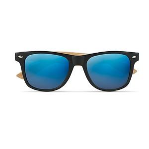 Sluneční brýle s bambusovými nožičkami a zrcadlovými skly, modré
