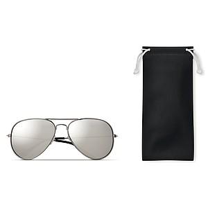 Sluneční brýle, zrcadlová zabarvená skla, UV400, v obalu, černé