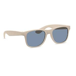 Sluneční brýle s obroučky z bambusu a plastu, béžové