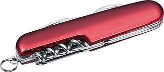 Kovový kapesní nůž, 7-dílný, červená