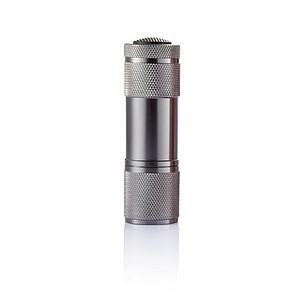 QUATRO Malá svítilna se šňůrkou, 9 LED, šedá