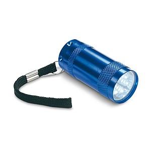 Hliníková mini svítilna se 6 LED diodami, modrá
