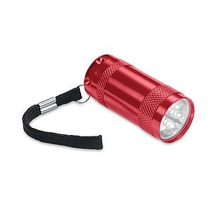Hliníková mini svítilna se 6 LED diodami, červená