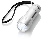 Kovová svítilna s jedním LED světlem, stříbrná
