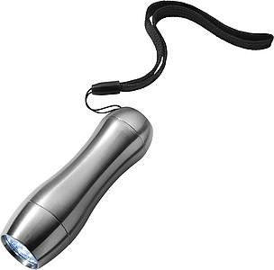 Kapesní svítilna s 9 LED a šňůrkou na zápěstí, stříbrná