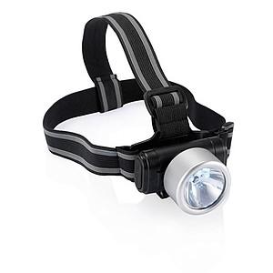 Čelovka s barevnou svítilnou, 3 LED, 1 žárovka, stříbrná