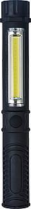 NOVAMBA Plastová pracovní baterka s COB hlavním a bočním světlem, černá