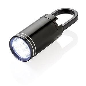 Malá LED svítilna s karabinou, černá