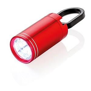 Malá LED svítilna s karabinou, červená