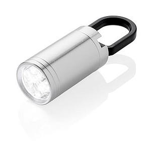 Malá LED svítilna s karabinou, stříbrná