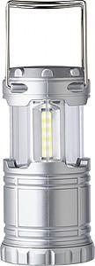 Plastové kempinkové světlo, ve tvaru lucerny, s třemi druhy svícení. Stříbrná.
