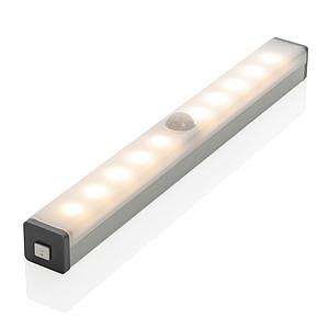 Střední LED světlo s pohybovým senzorem a USB nabíjením, stříbrná
