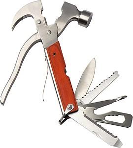 Multifunkční nářadí s kladívkem a dřevěnou rukojetí