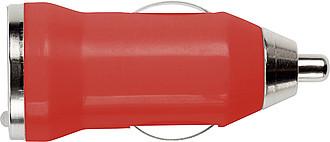 CANOPUS Plastový adaptér z autonabíječky do USB, červený