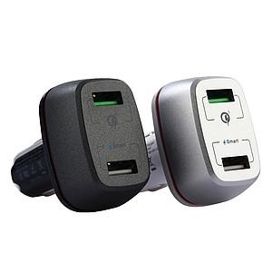 NAVIDAD Rychlonabíjecí autoadaptér s 2 USB porty a LED proužkem, kombinace černá/šedá