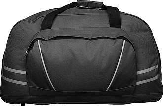 TOGO Sportovní cestovní taška na rameno s reflexními proužky, černá